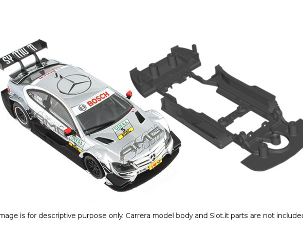 S03-ST4 Chassis for Carrera Merc. DTM SSD/STD in White Natural Versatile Plastic