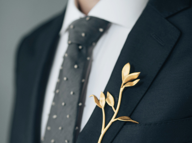Branch Boutonniere in Polished Gold Steel