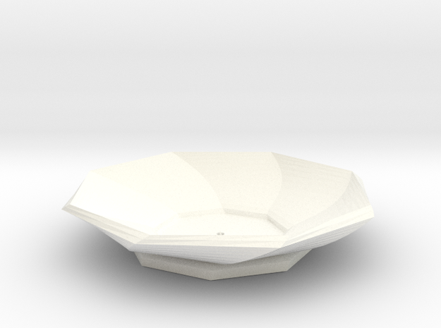 Sake Plate 01 in White Strong & Flexible Polished