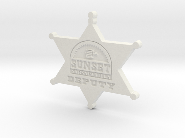 Sunset Sarsaparilla Deputy Sheriff Badge in White Natural Versatile Plastic