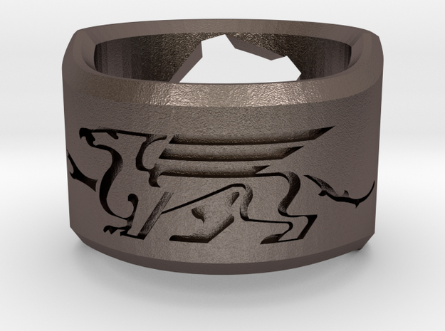 Gryphon Ring in Polished Bronzed Silver Steel