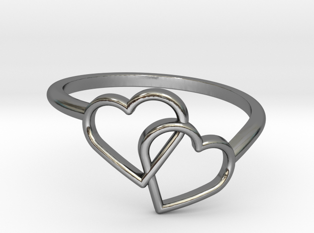 Interlocking Hearts Ring in Fine Detail Polished Silver