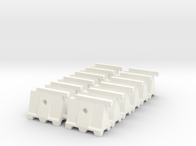 Barricade 02. HO Scale (1:87) in White Processed Versatile Plastic