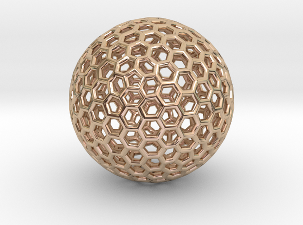 Goldberg Polyhedron pendant in 14k Rose Gold Plated Brass