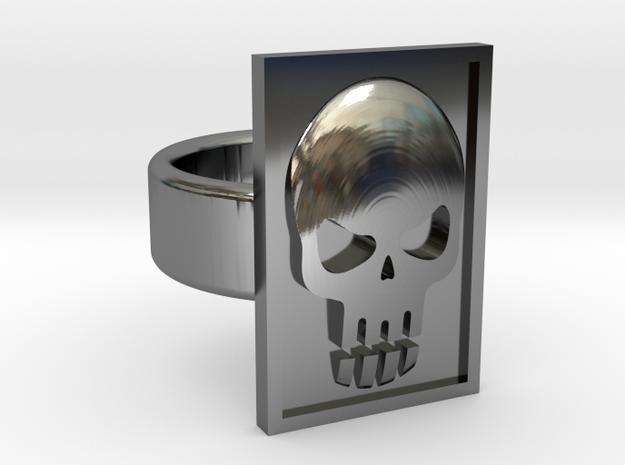 Phantom Skull Ring in Fine Detail Polished Silver