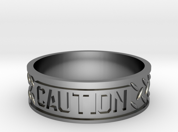 Caution sz12 US in Fine Detail Polished Silver