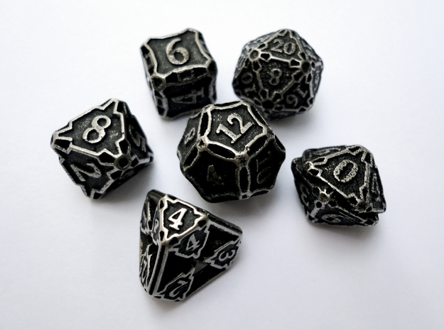 Premier Dice Set in Polished Bronzed Silver Steel