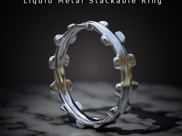 Liquid Metal Stackable Ring 3d printed
