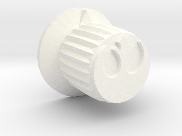 Rebel Insignia Guitar Knob w/flange in White Strong & Flexible Polished