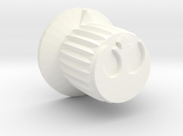 Rebel Insignia Guitar Knob w/flange in White Processed Versatile Plastic