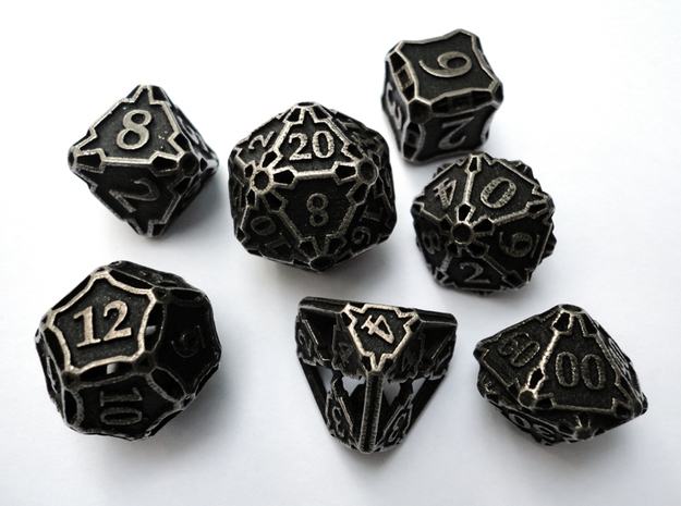Large Dice Set with Decader 3d printed In stainless steel and inked.
