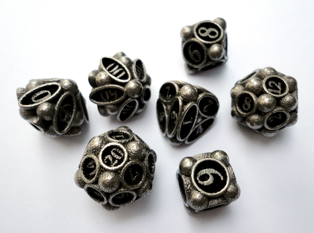 Spore Dice Set with Decader in Polished Bronzed Silver Steel