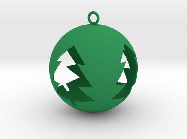 Tree Bauble Christmas Tree Ornament in Green Strong & Flexible Polished