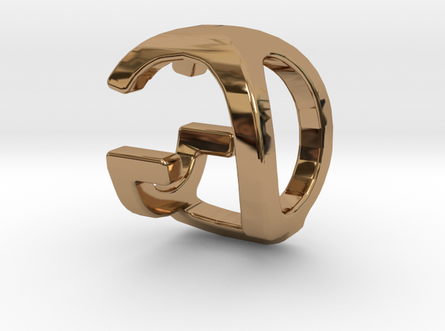 Two way letter pendant - GQ QG in Polished Brass