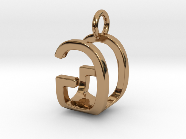Two way letter pendant - GU UG in Polished Brass