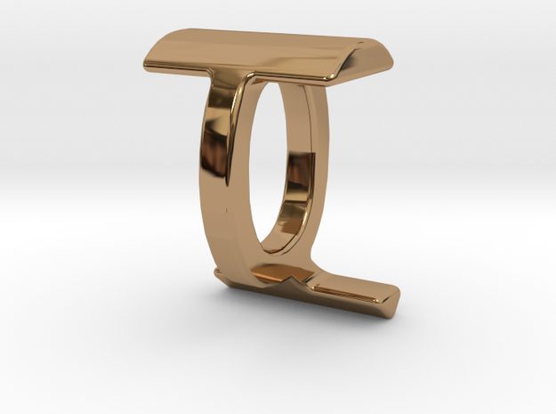 Two way letter pendant - IQ QI in Polished Brass