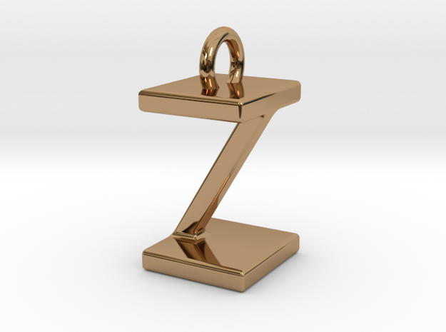 Two way letter pendant - IZ ZI in Polished Brass