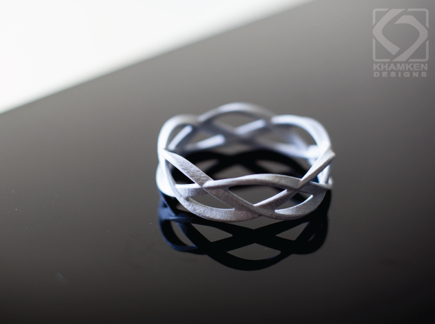 Weave Ring (Large) in Polished Metallic Plastic
