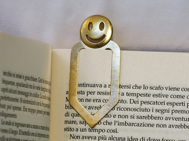 Happy Bookmark in Natural Brass