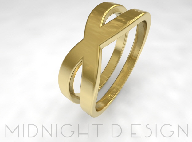 "Ring ""Across"" Size 8 (18,2mm) in 14k Gold Plated Brass"