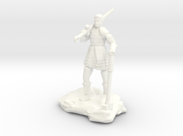 Half Orc In Splint With Sword And Hammer in White Processed Versatile Plastic