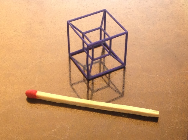 Tesseract (Hypercube) in Blue Strong & Flexible Polished