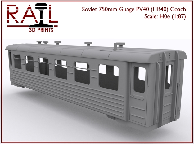H0e - PV40 - Soviet 750mm Gauge Coach in Smooth Fine Detail Plastic