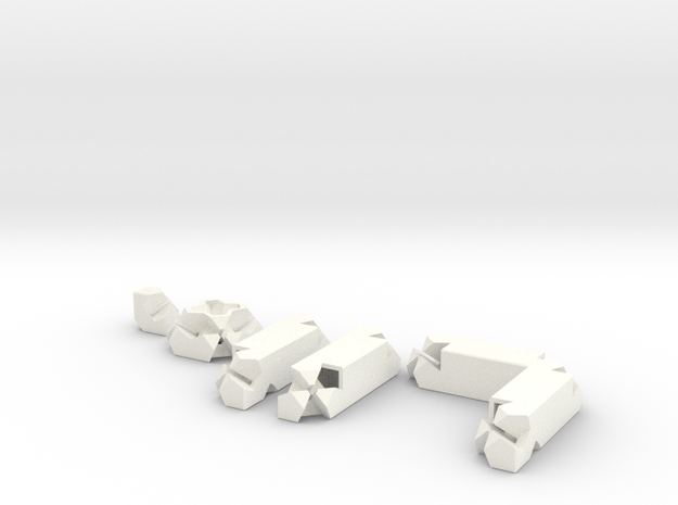 3way Joint Set (Kawai Tsugite) in White Processed Versatile Plastic
