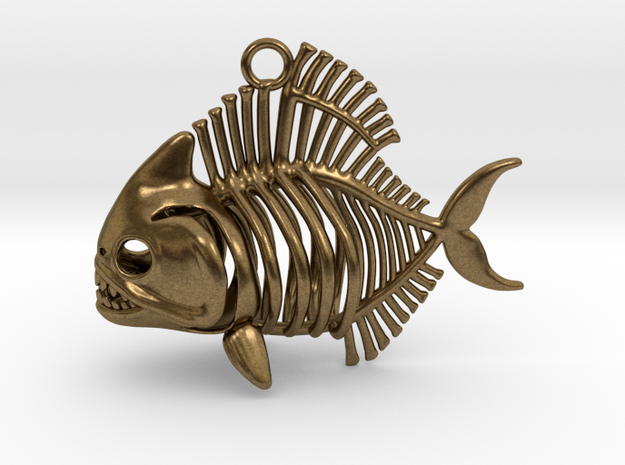 Piranha Pendant in Natural Bronze