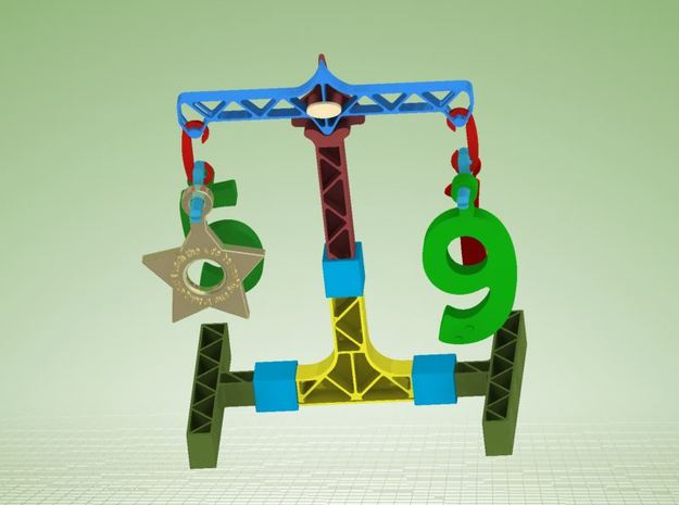 Toy weigher (SET2: DIGITS ONLY) in White Strong & Flexible Polished