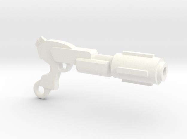 Laser Rifle Keyring in White Processed Versatile Plastic