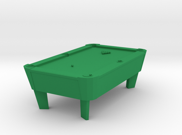 Pool Table - Balls Racked  'O' Scale in Green Processed Versatile Plastic