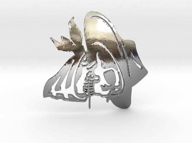 SkullPendant3 in Polished Silver