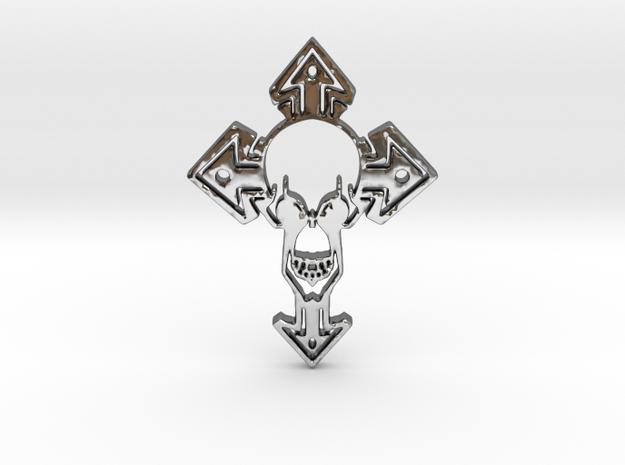Skull1Pendant in Fine Detail Polished Silver