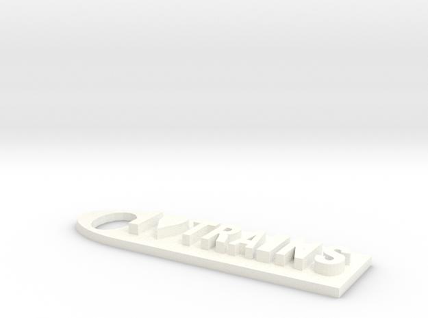 I Love Trains KeychainMK IV in White Processed Versatile Plastic