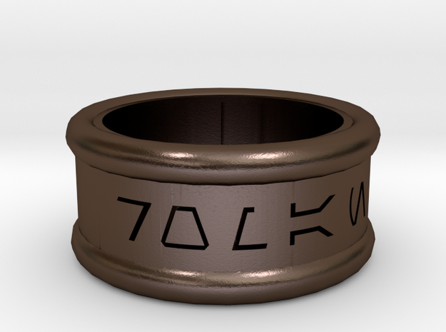 Imperial Alphabet Ring   in Polished Bronze Steel
