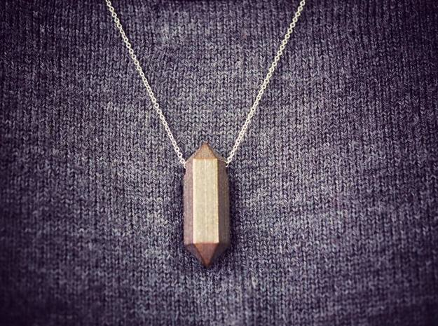 {pendant} sky stone crystal for 2 in Polished Bronze Steel