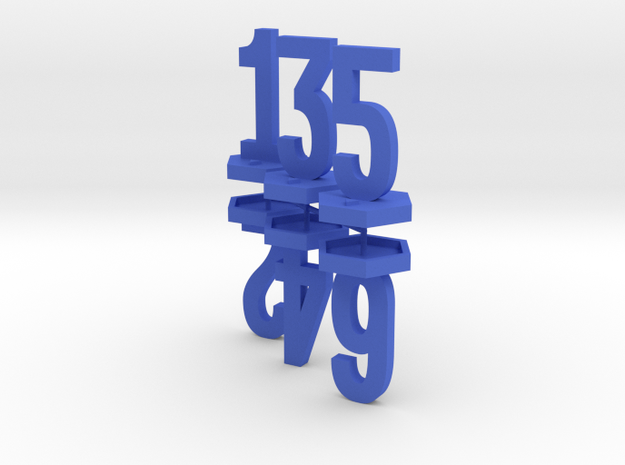 Six Generic 1 Inch Base Minis - 1, 2, 3, 4, 5, 6 in Blue Strong & Flexible Polished