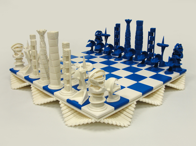 Chess Set Bishop  in White Processed Versatile Plastic