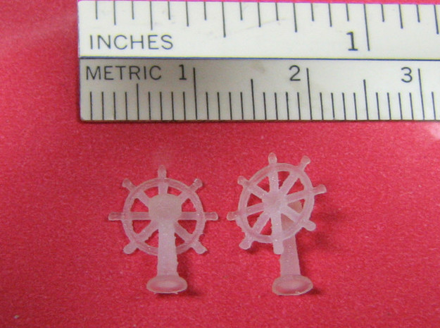 1:144 Scale Ship's Wheel 3d printed Back and front views