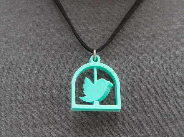 Twitter Pendant Tweet Bird Cage in White Acrylic