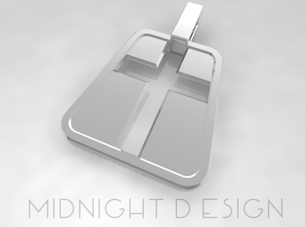 "Cross Pendant ""Inverse"" (Small version) in Fine Detail Polished Silver"