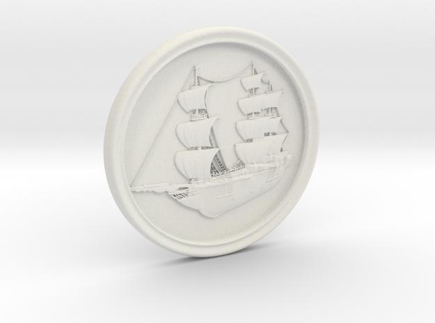 Ship Basrelief in White Strong & Flexible