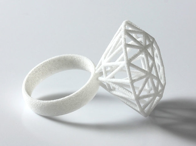 Rock Star Diamond Ring Size 6 3d printed