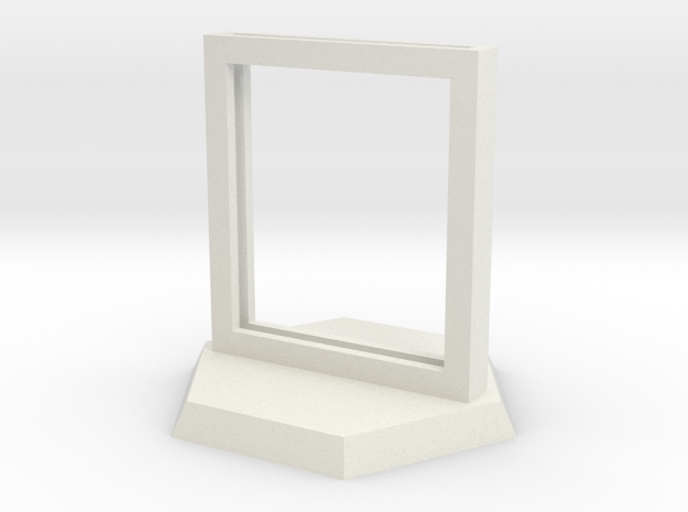 "Paper Insert Miniature Stand 1"" (Hex Base) in White Natural Versatile Plastic"