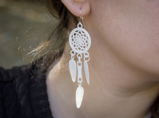 Feather Dream Catcher Earrings in White Strong & Flexible Polished