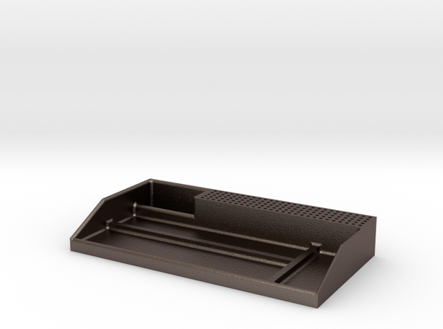 Tabletop Organizer in Polished Bronzed Silver Steel