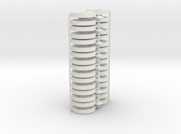 1/16 Pz IV Steel Wheels in White Natural Versatile Plastic