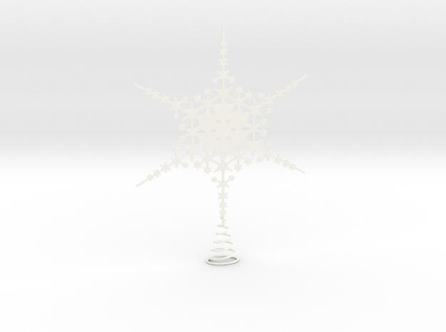 Sparkle Snow Star - Fractal Tree Top - MP1 - M1 in White Processed Versatile Plastic
