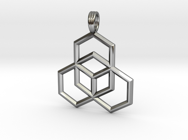 STEP CUBE in Fine Detail Polished Silver
